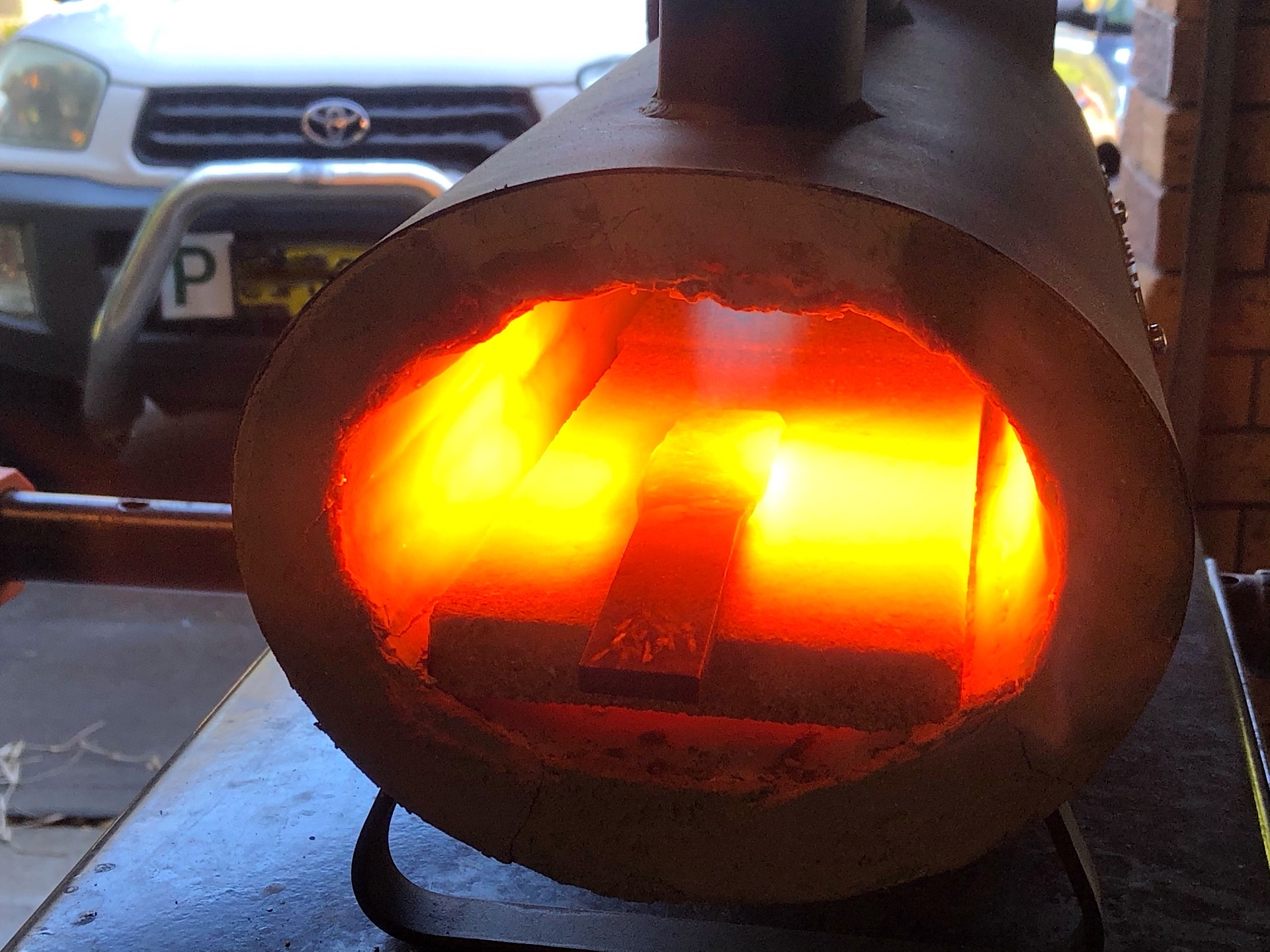 Heating an old file for forging
