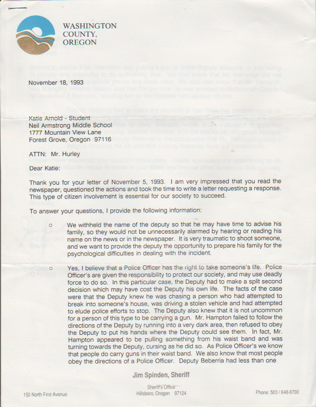 1993-11-18 - Saturday - Hillsboro OR Sheriff Jim Spinden to Katie Arnold on the death penalty, 2 pages, reviewing a specific case-1.png