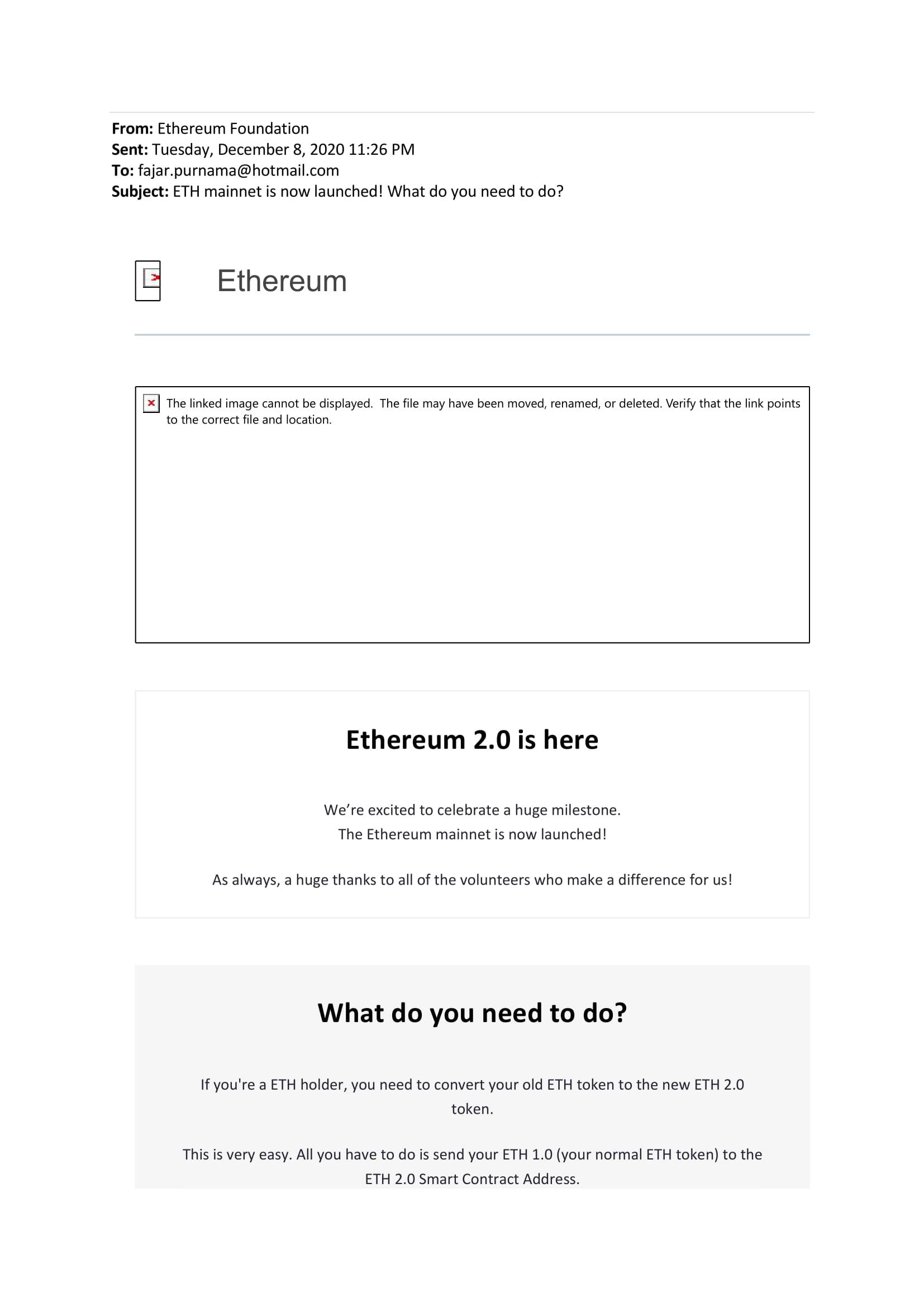 Ethereum convert to Ethereum 2.0 suspicious email 1