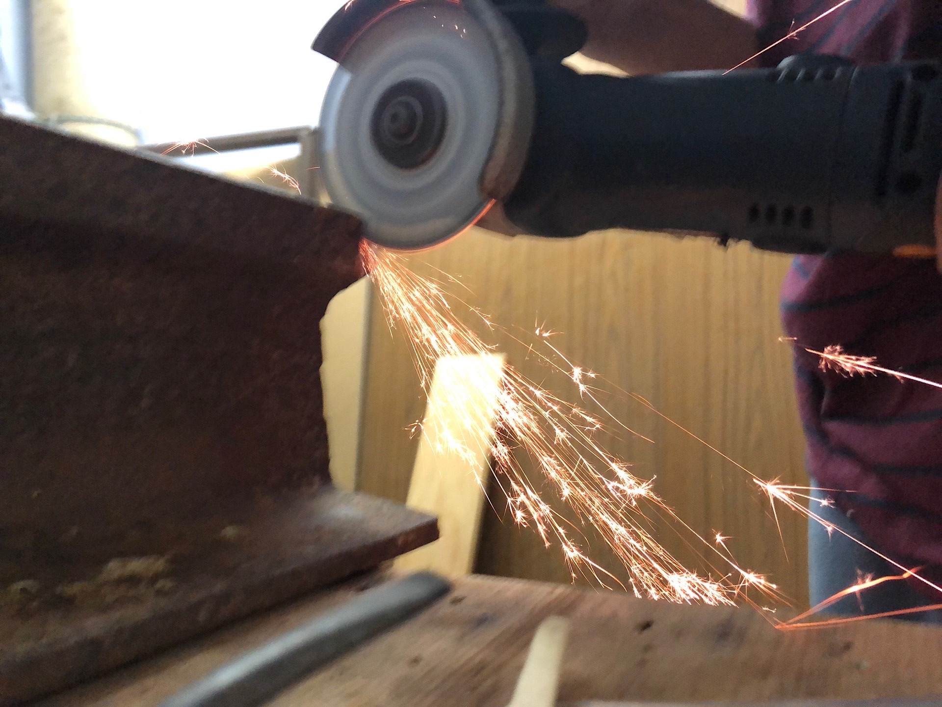 "Cutting a crane rail with a 4.5"" angle grinder"