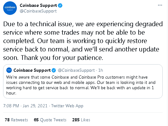 20210129 19_42_40Coinbase Support on Twitter_ _Due to a technical issue, we are experiencing degr.png