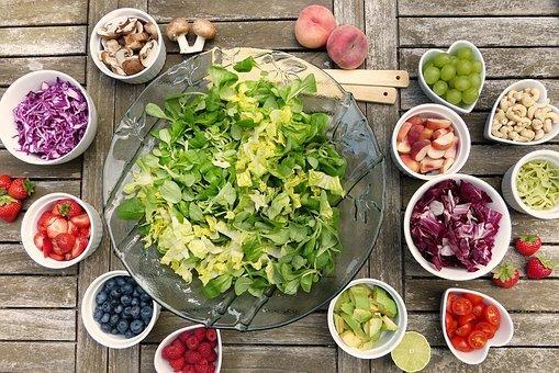 Salad, Fruits, Berries, Healthy