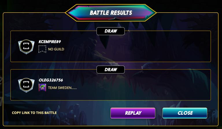 Splinterlands battle draw screenshot