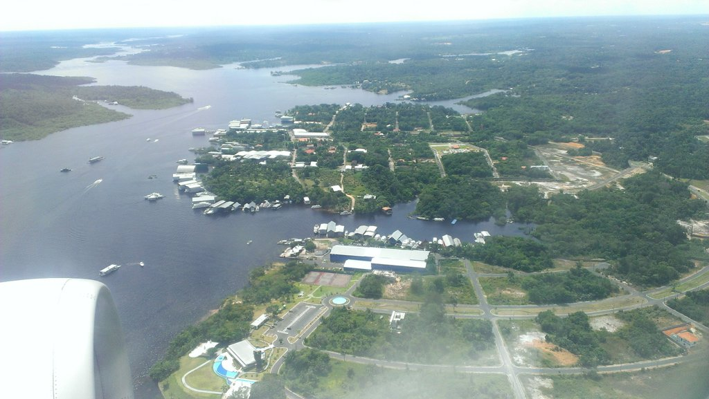 View of the Rio Negro from the plane arriving in Manaus