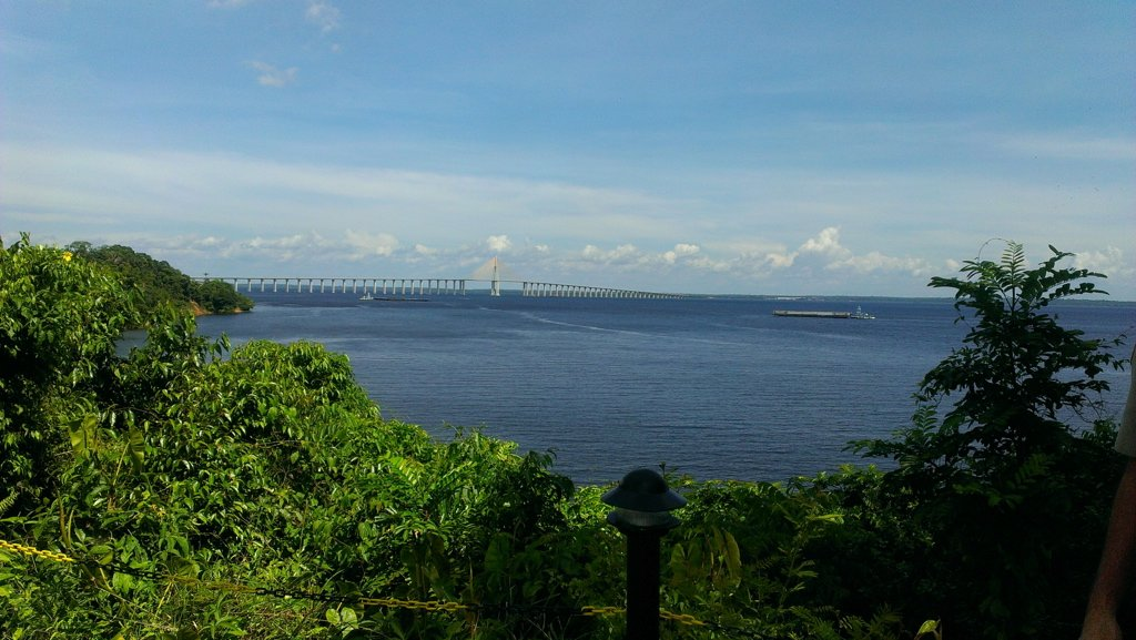 View of the Phelippe Daou Jornalista bridge from the Ponto Negra beach
