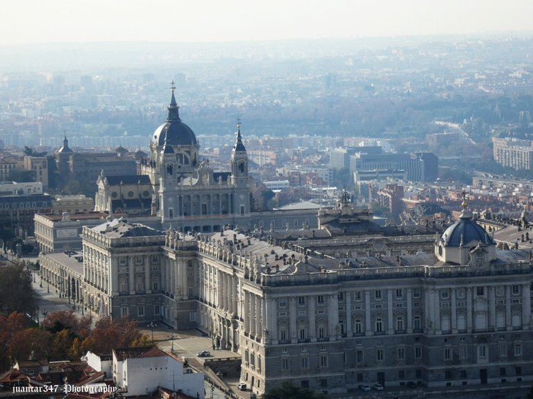 Close-up of the Royal Palace and the Almudena Cathedral