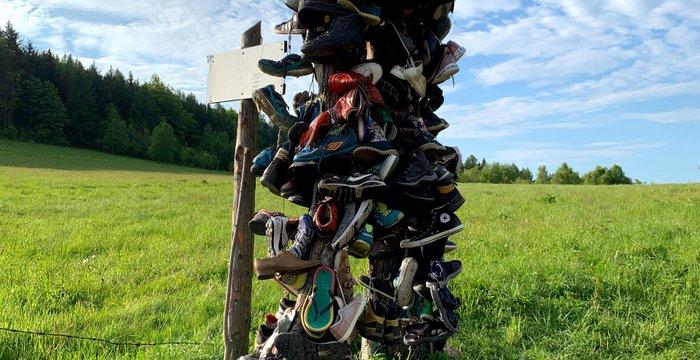 Atak szczytowy 12 minut i wieszak na buty na szlaku. Skopiec, Góry Kaczawskie (Sudety).