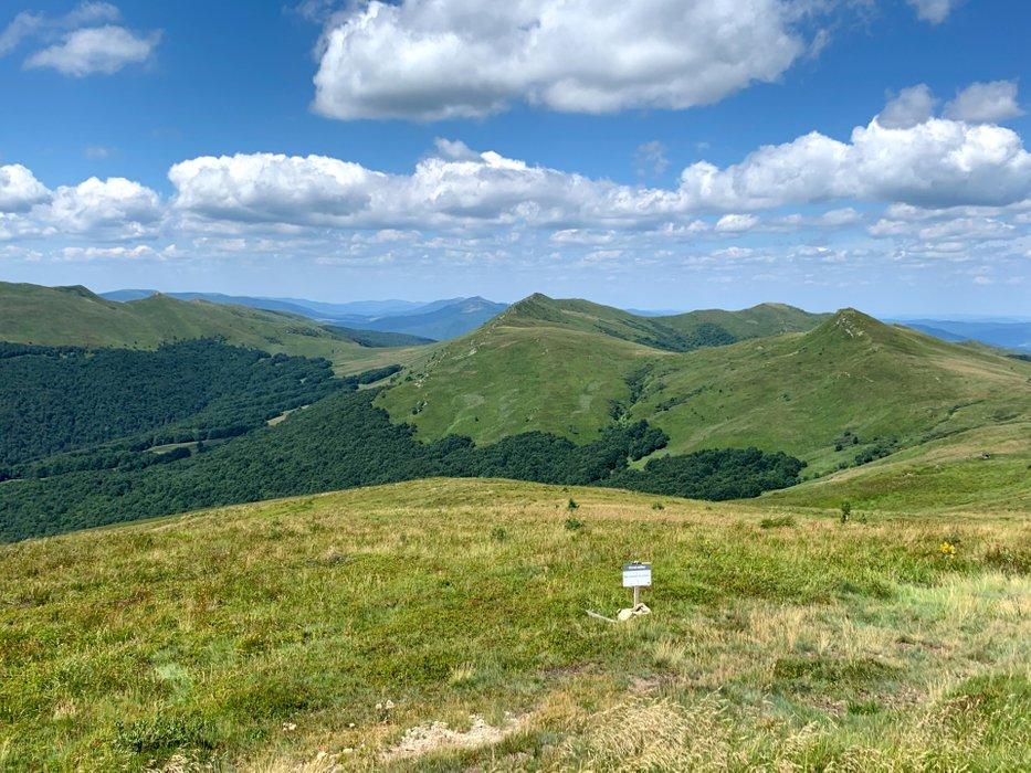 Widok z Halicza. Po lewej Tarnica, centralnie Krzemień, dalej Bukowe Berdo