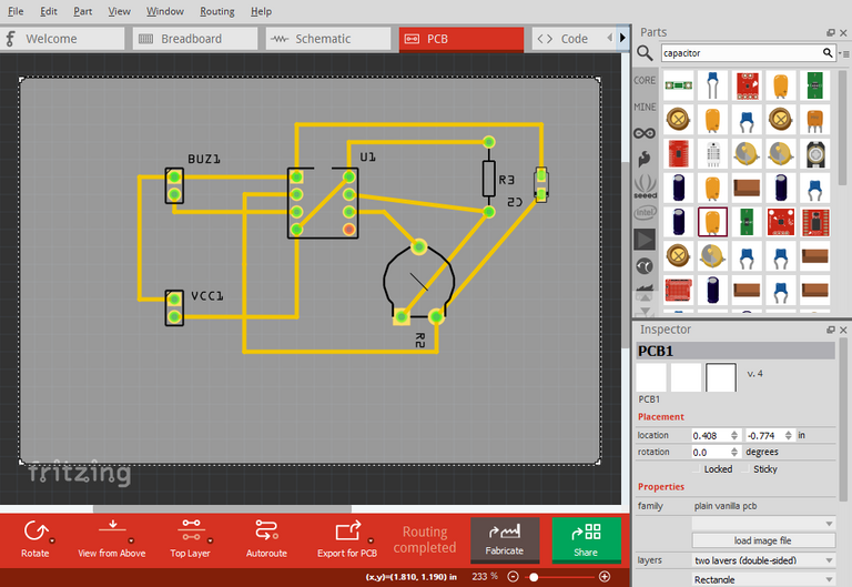 Mosquito repeller - Fritzing - PCB Layout.png
