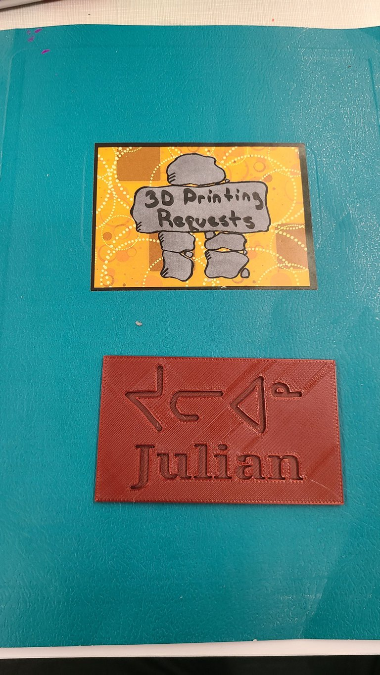 3D Printing request book with a printed nameplate that has my name written in Inuktitut