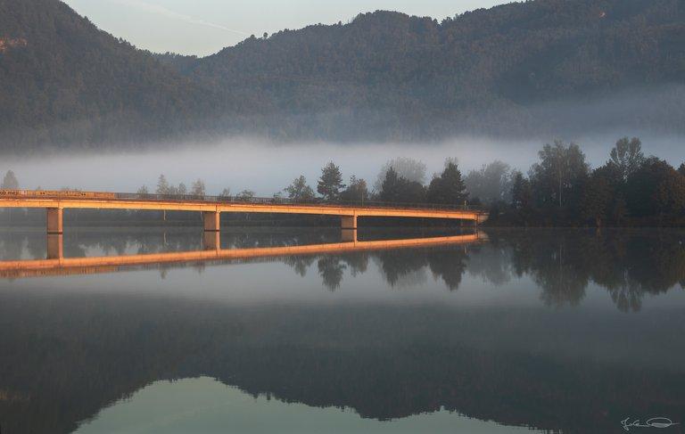 Golden Bridge over the Reservoir