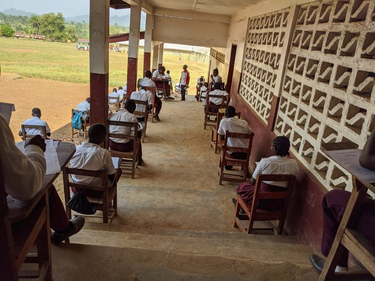 Test taking at Bopolu Liberia High School