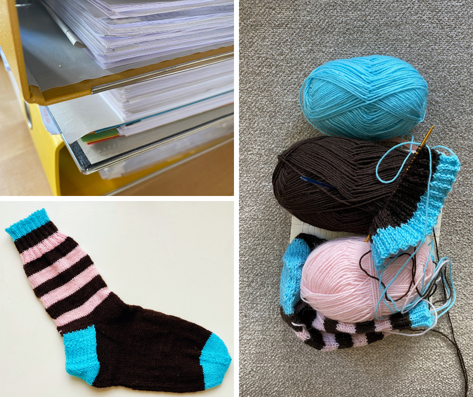 sock knitting and folders in home office