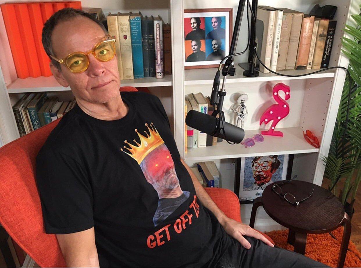"Max Keiser Reppin' a ""Get Off Zero / Michael Saylor"" T-Shirt from Jagoe Merch"