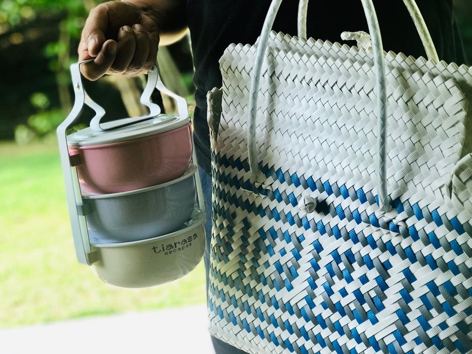 The next day, we requested Breakfast sent to our Tents as we went to bed very late. Delivered in this Tiffin carrier and Hand Woven Basket, it brought on the nostalgia.