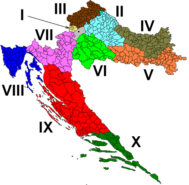 Croatian Electoral Districts (source: Wikimedia Commons)