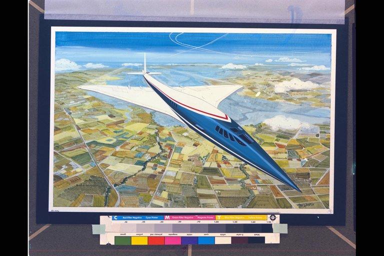 NASA ART by Rick Guidice Supersonic SST aircraft technology concept in flight artwork  OART ARC1971AC714036.jpg