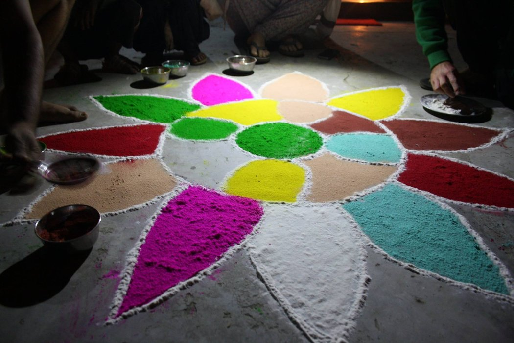 Decorations for the Diwali festival, This peace of art was created by two volunteers from France.