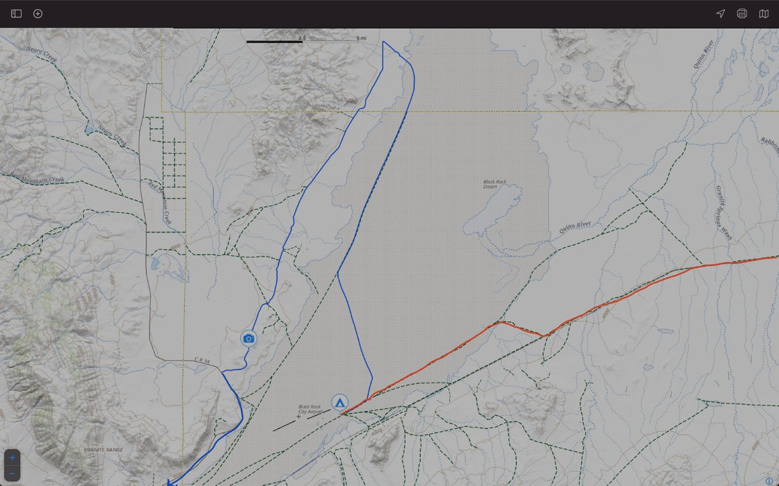Map of the Route - Red In, Blue Out.