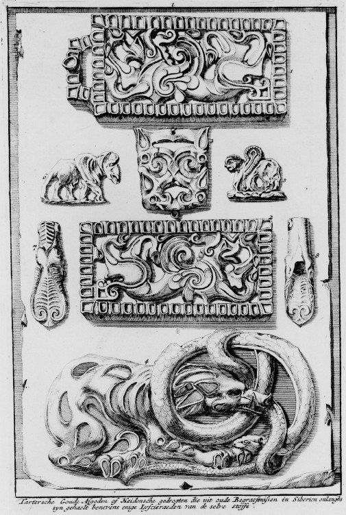 Tartarian Golden Idols or Heathen monsters which were recently taken from ancient burial grounds in Siberia together with some body jewels of the same material, Scythian origin. (Source: Book by Nicolaas Witsen — Noord en Oost Tartarye)