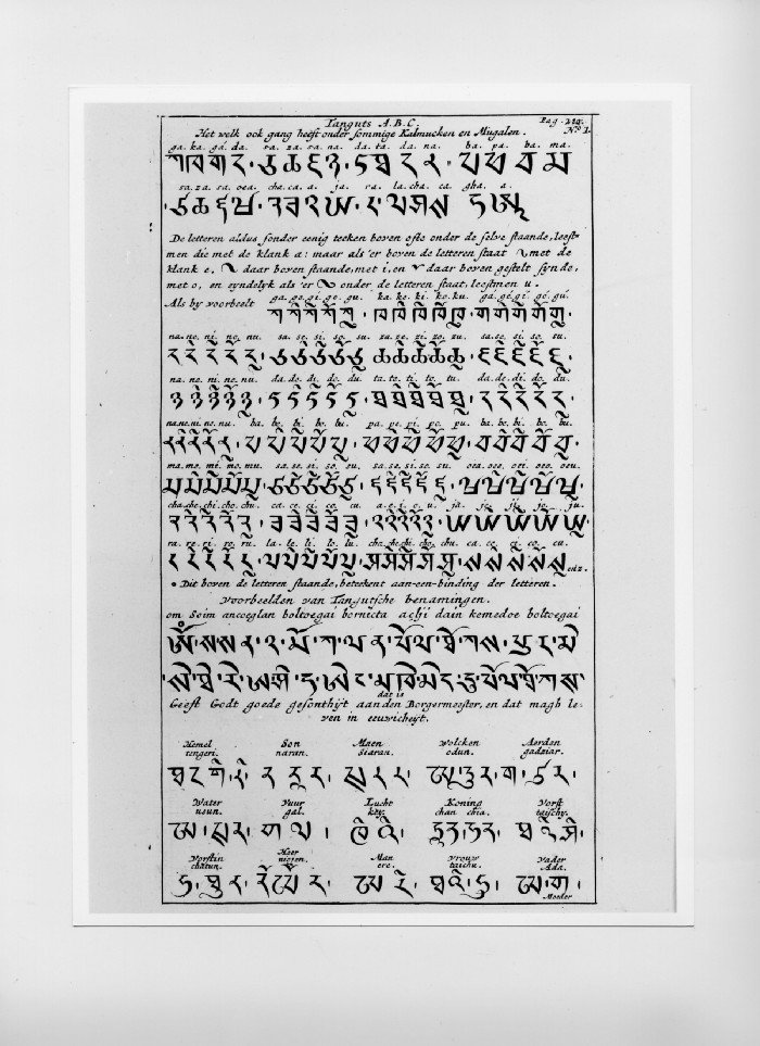 Tangut alphabet. Which is also in use among certain Calmucks and Mongols.