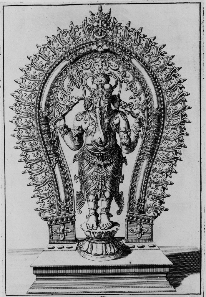 Image of Indian Hindu deity Ganesha or Ganapati. (The idol with the elephant snout is named Quenevady , son of the God Ixora or Elsware , sometimes also called Vievrepedra .)