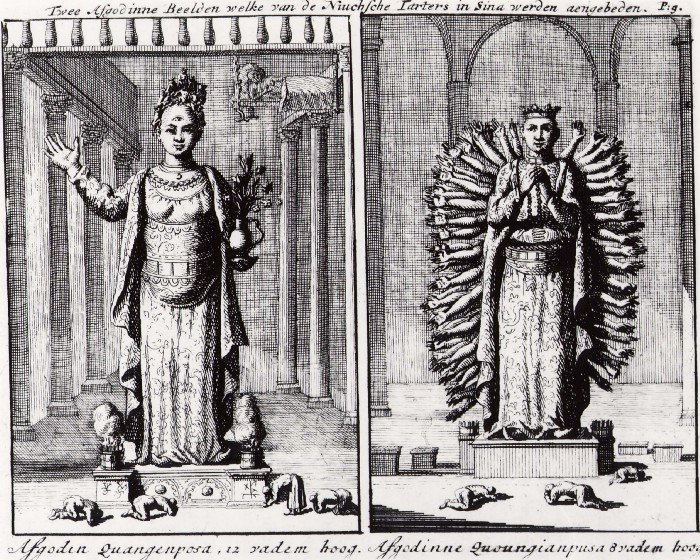 Two female idols revered by Niukhian (Manchurian) Tartars in China. Left: Female idol Quangenposa, 12 fathoms high. Right: Female idol Quoungiapusa, 8 fathoms high.