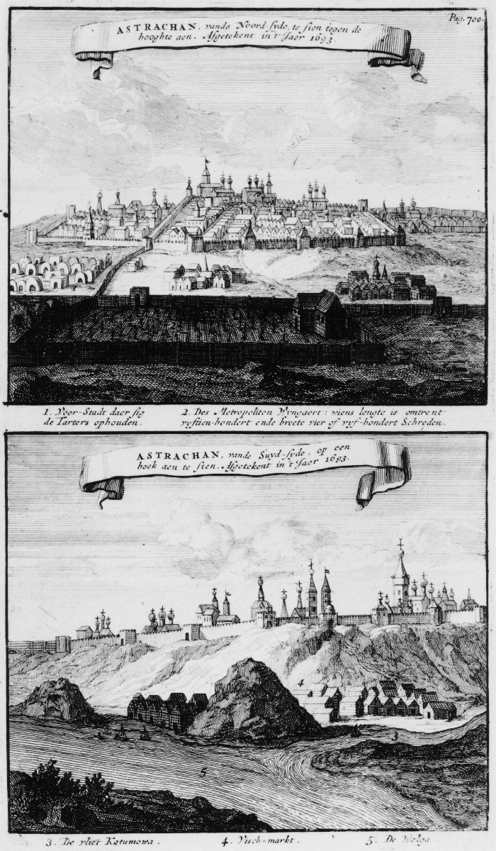 Top: Astrachan seen from the North against the high bank. Bottom: Astrachan seen from the South and looking at a corner. Drawn in the year 1693.