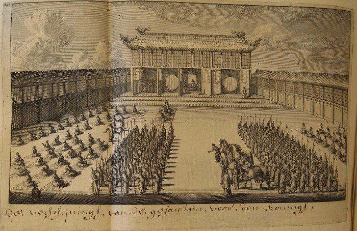 The appearance of the ambassadors before the Chinse king [emperor]. (Farewell audience of the Ambassador with the king of China.)
