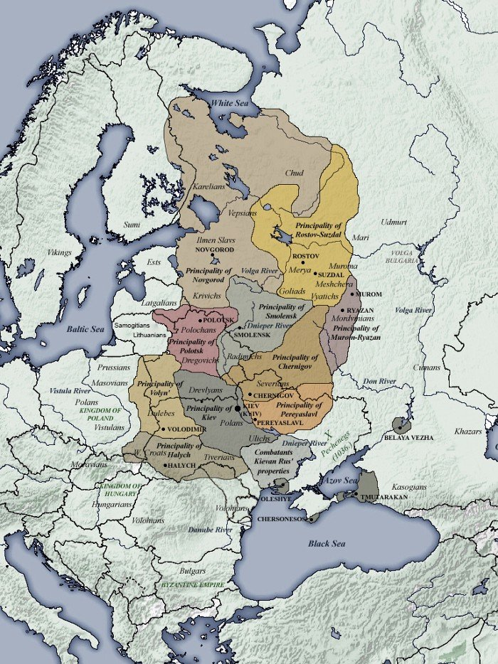 Realm of Kievan Rus' at its height superimposed over modern European borders (with dependent lands). (Source: Wikipedia)