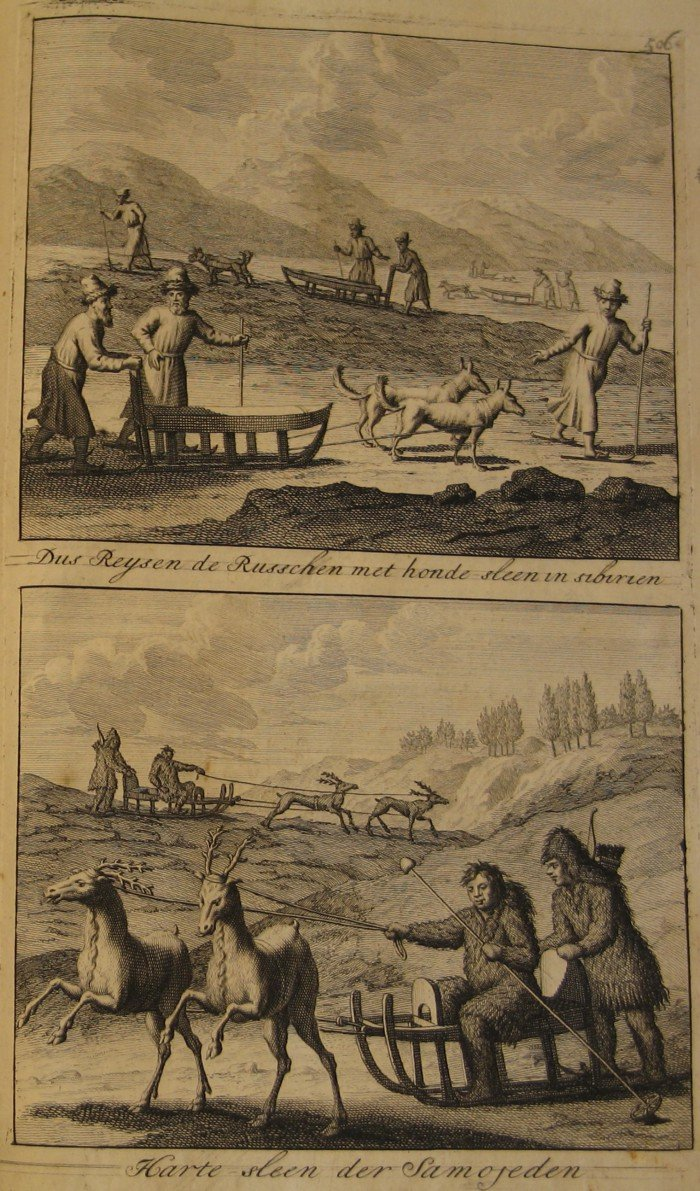 Top: In this way the Russians travel by dog sledge in Siberia. Bottom: Samoyed sledges drawn by deer.