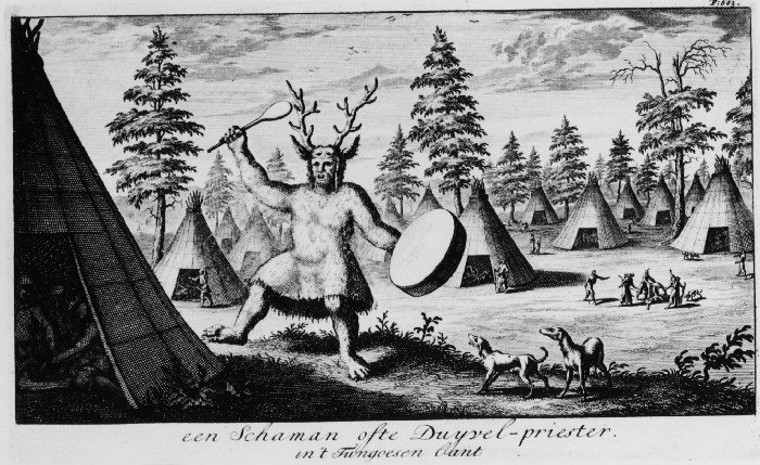 A shaman or Devil-priest in the country of the Tungus. (This is the first picture published in Europe of a Siberian shaman.)