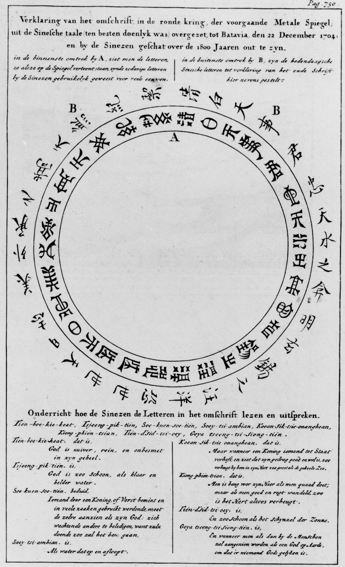 Top text: Explanation of the text in the Chinese language in the circle on the previous metal mirror as good as possible translated in Batavia on 22 December 1704 and of which the age was estimated by the Chinese to be more than 1800 years. In the inner circle near A one sees the letters which are engraved in the mirror and which were used by the Chinese many ages ago. In the outer circle one sees the modern Chinese characters which correspond with the ancient text and explain it. Bottom text: Instruction how the Chinese read and pronounce the text in the circle.
