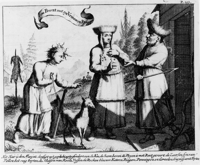 A Buryat with his Wife and Daughter. (Translation of the subtext: The hair is removed from the man's face except for the chin, The seam above the pleats is lined with fur, The boots are [made] of hides with the rough side outside, The caps are [made] of red fox, The skirts [are made] of blue cotton, Rings, coins and corals they wear in their braids.)