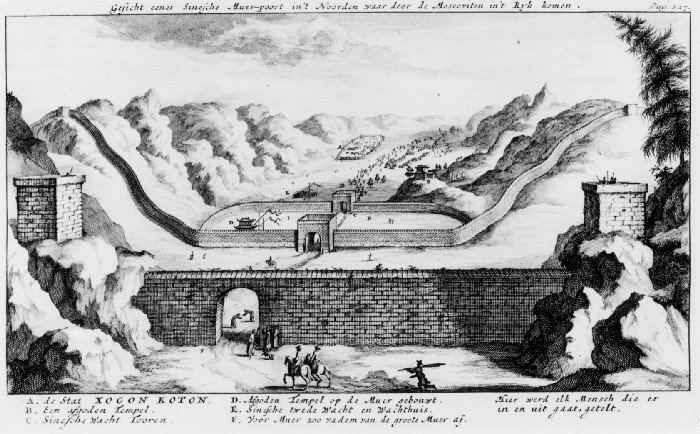 View of one Chinese Wall gate in the North through which the Muscovites enter the Empire. (Chinese Guard Tower F. First Wall, 200 fathoms from the Great Wall, where every entering or leaving person is counted.)