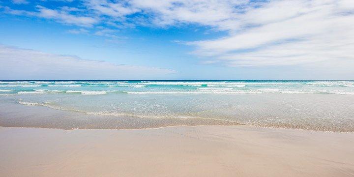White sandy beach near Puerto Ayora