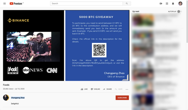 CZ Binance video used for another BTC Scam on YouTube