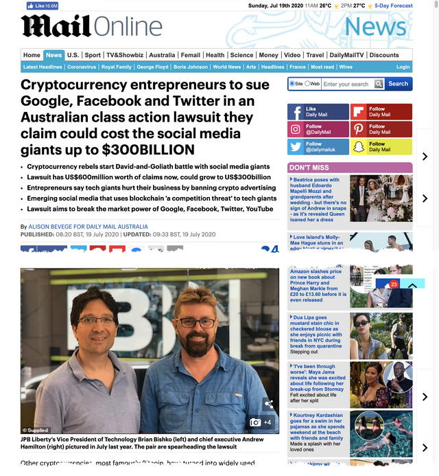 Top of Daily Mail Article about JPB Liberty's Crypto Class action case.