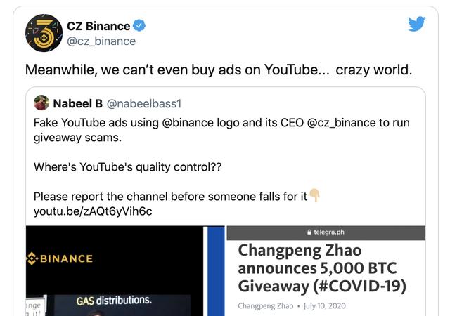 CZ of Binance Tweet: we can't buy ads on YouTube