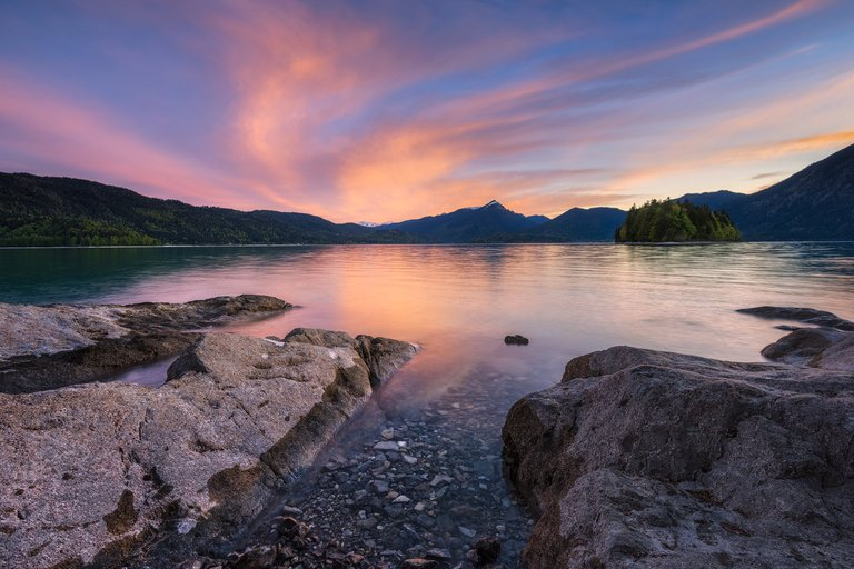 Colorful Sunset over lake Walchensee