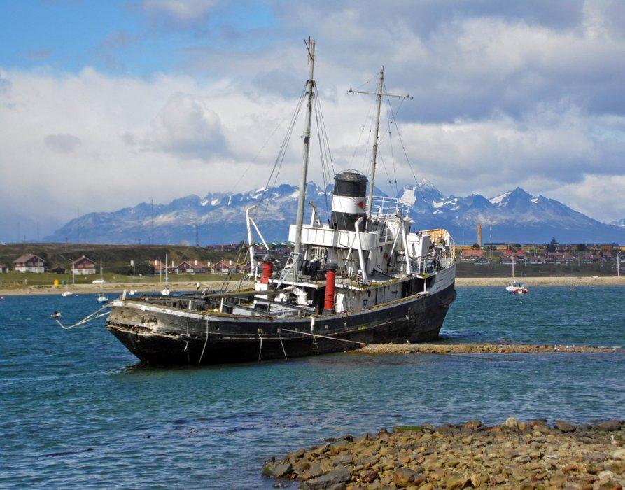 Old stranded tug boat.