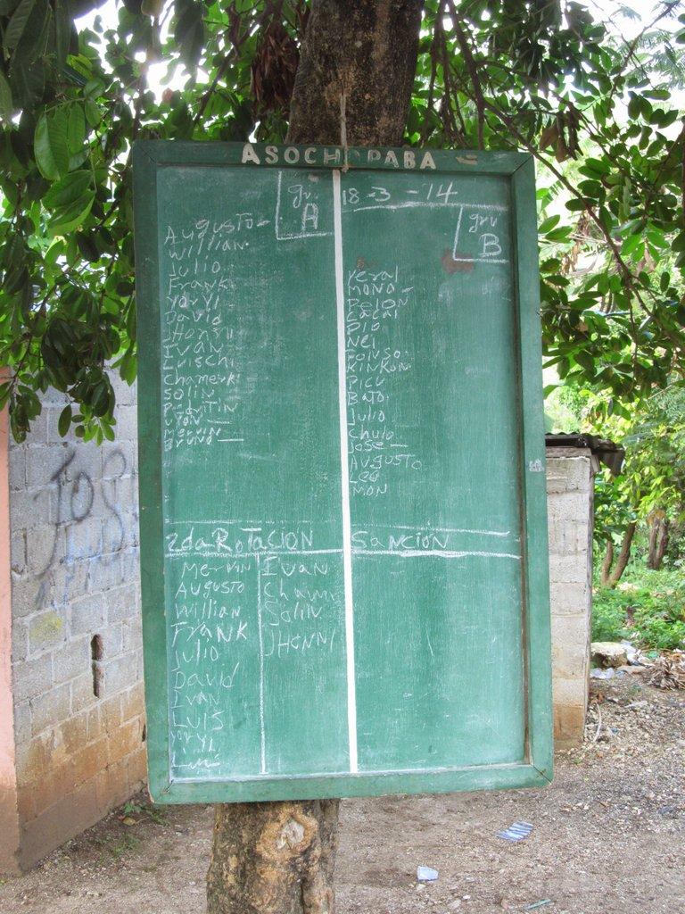 Tablica stojąca na postoju Gua Gua. To chyba jakaś ich rozpiska, kto jedzie jakim kursem? Nie udało mi się rozszyfrować jak to działa.