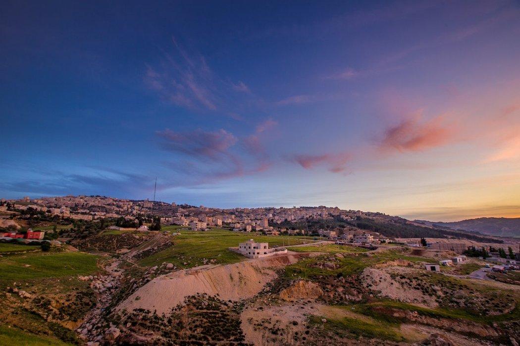Looking over a Jordanian hillside at dusk