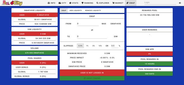 The dCity swap tab showing LP rewards.