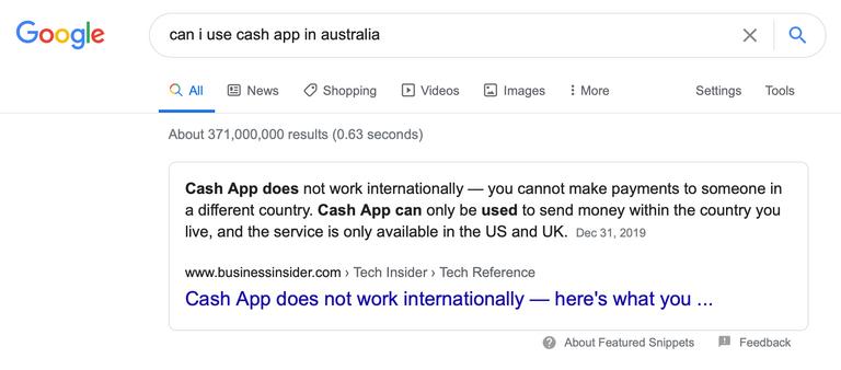 Cash App Google search