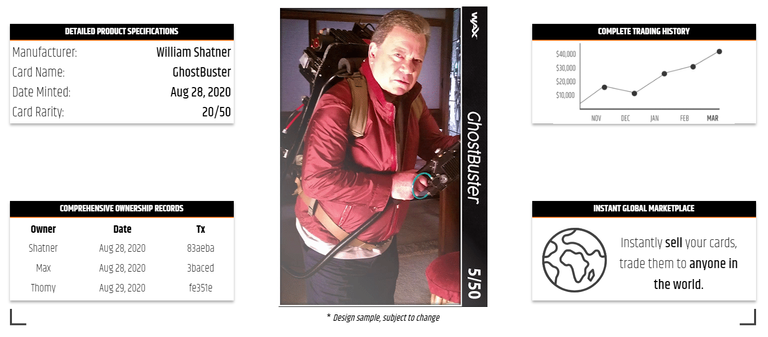 Description page showing info on Shatner Cards