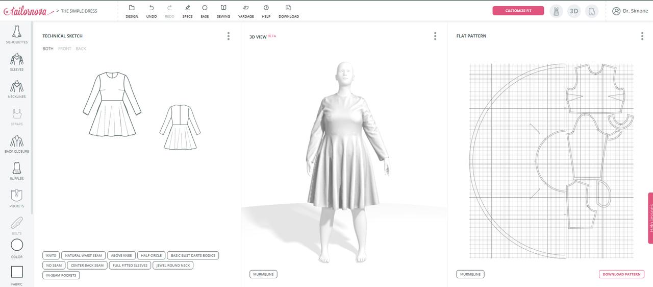 tailornova dress technical sketch, 3D model and pattern
