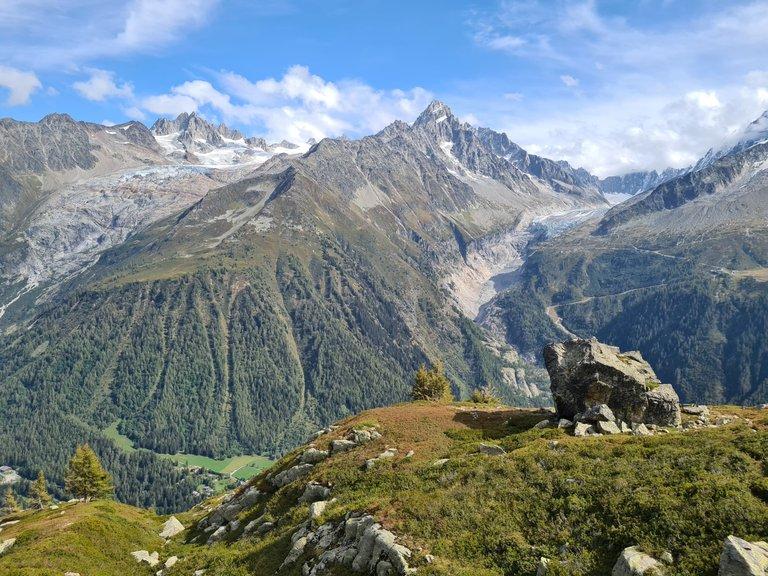 Vue sur le glacier de Saleina, l'Aiguille de Tour, l'Aiguille d'Argentière et le glacier d'Argentière