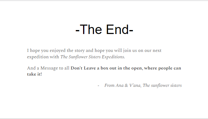 the sunflower sister's expeditions - mystery box the end.png