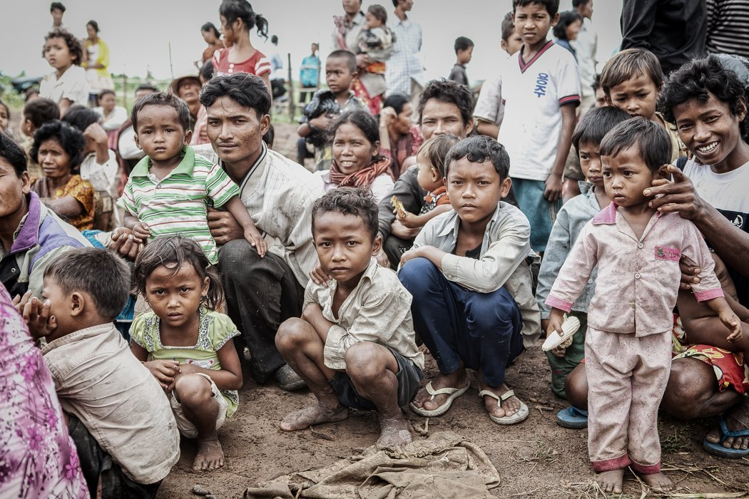 The villagers waiting for treatment